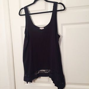 Intimately Free People Flowy Tank Lace Inset Black